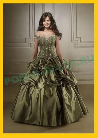Оливковое свадебное платье